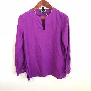 Lauren Ralph Lauren Purple Tunic Linen Top M